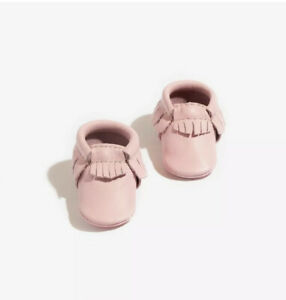 Freshly Picked Rose Pink Soft Sole Leather Moccasins Newborn Shoes Size 0