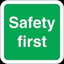 Health and Safety Green Safety Sticker Safety First Text Sticker