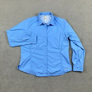 Columbia Sportswear Women's Long Sleeve Button Up Blouse Small Blue Cotton S