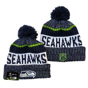 NEW ERA NFL Seattle Seahawks On field Sideline Beanie Winter Pom Knit Cap Hat