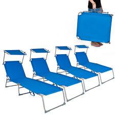 4x Gartenliege Freizeitliege Sonnenliege Strandliege mit Sonnendach 190cm blau