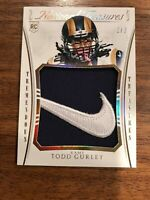 🔥ULTRA RARE! 2015 NATIONAL TREASURES TODD GURLEY RC #D 2/2 *NIKE* LOGO PATCH.