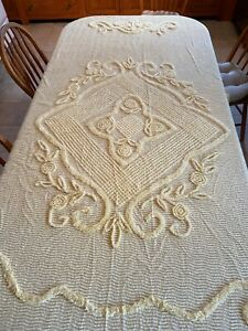 Sweet Vintage Yellow Cotton Chenille Big Diamond Bedspread Blanket  86 x 102