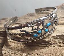 Vintage Sterling Silver Native American Ella Peters Cuff Bracelet #2202
