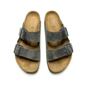 Birkenstock Arizona Leather Double Strap Buckle Footbed Sandals Size 38 Gray
