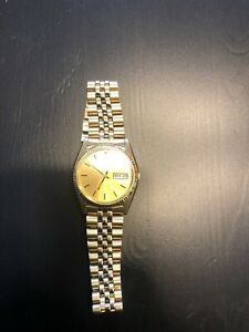Seiko Mens Stainless Steel Gold Date/Day Automatic Jubilee Link Watch