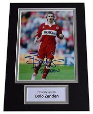 Bolo Zenden Signed Autograph A4 photo display Middlesborough Football AFTAL COA