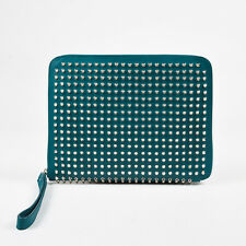 Christian Louboutin Teal Blue Leather Silver Stud Zip Around iPad 3 Case
