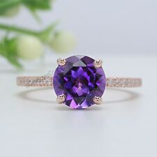 Purple Amethyst Round Stone Ring 14K Solid Gold Engagement Gift Ring GR415