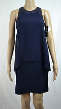 New Betsy & Adam Women's Sequin Trim Draped Jersey 1PC Dress Size 4