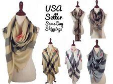 Women's Oversized Blanket Plaid Tartan Wrap Scarf Large Square Pashmina Shawl