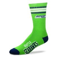 Seattle Seahawks For Bare Feet Men's NFL 4-Stripe Deuce Crew Socks SZ M