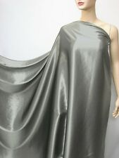 by the metre metal Grey pure silk satin charmeuse fabric plain crepe back