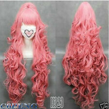 HOT 100cmVOCALOI D-Megurine Luka PINK Anime Cosplay wig+1Clip On Ponytail JH