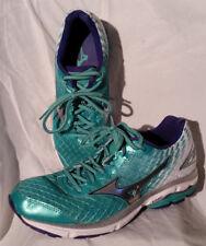 Mizuno Women's Wave Rider 19 Running Shoes Mint Size 8 Malibu Blue/White/Silver