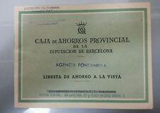 LIBRETA DE AHORROS CAJA DE AHORROS PROVIN. DE LA DIPUTACION DE BARCELONA 1958