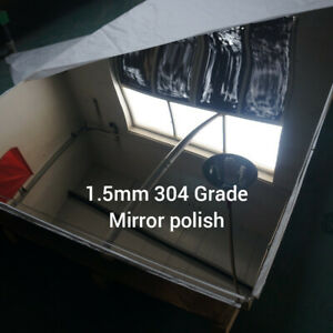 1.5MM 304 Grade Mirror Polish stainless steel. Laser cut. Square sheet plate.