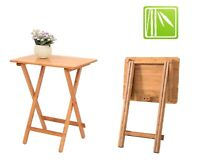 Folding Bamboo Bedside Table Foldable TV Table Tray Work Dining Portable Tea OZ