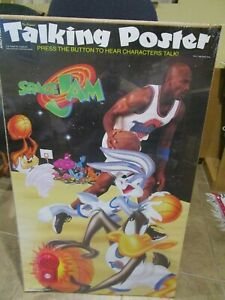 Vintage 1996 Space Jam Michael Jordan Basketball Talking Poster NOS