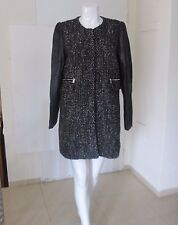 NWT ZARA Coat with Leather Sleeves Black Tweed Boucle Jacket/Coat Size L