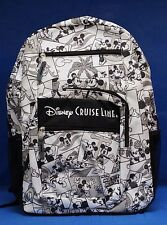 Disney Cruise Line Zippered Backpack Mickey Mouse DCL Black & White Bag