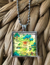 Winnie the Pooh Hundred Acre Wood Map Pendant Keychain Silver Chain Necklace NEW