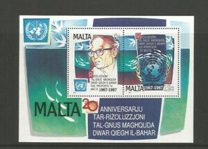 Malta 1987 20th Anniversary Of United Nations Miniature Sheet UMM SG MS818