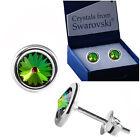 925 Sterling Silver Stud Earrings Vitrail Medium Green Crystals from Swarovski®