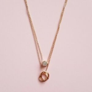 Rose Gold Tone Double Layered Bezel 1ct Cubic Zirconia Round Women's Necklace