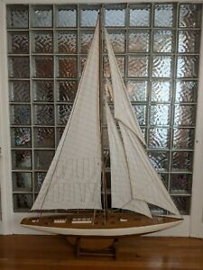 """HUGE Handsome Vintage Hollow Wood Pond Yacht model ship display sailboat-72""""x50"""""""