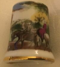 Fox Hunt Hunting Side Saddle Rider Horse Woman Porcelain Thimble