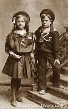 Edwardian Children in Sailor Dress - Early 1900s - Historic Photo Print