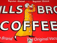 "VINTAGE HILLS BROS COFFEE DIE-CUT CAN 7 3/4"" PORCELAIN METAL GASOLINE & OIL SIGN"