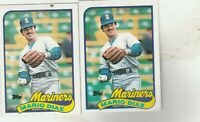 FREE SHIPPING-MINT-1989 Topps #309 Mario Diaz Seattle Mariners -2 CARDS