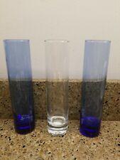 2 Libbey cobalt blue Glass cylinder bud vase 1 clear Vase