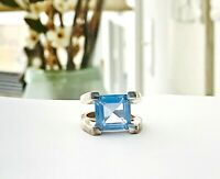 Blue Topaz Sterling Silver 925 Modernist Gemstone Chunky Size 6 Band Ring