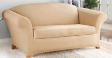 Sure Fit Loveseat Slipcover Stretch Suede Camel Separate Box Style Seat Cushion
