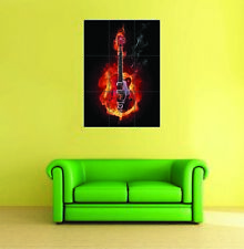 Guitar On Fire Giant Poster Art Print