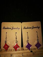 2 Pairs -Purple & Red Plastic Diamond Symbol Dangle Earrings Set - Free Shipping