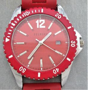 Belmore Armbanduhr,rotes Gummiband,Datumsanzeige,Drehring