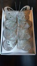 16cm x3 Decorative Glitter Jewelled Clip-on Butterfly Butterflies Wedding Silver