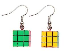 Funky Rubiks Cube Earrings Fun Quirky 80s Jewellery Fancy Dress Earrings