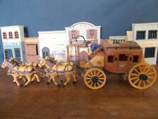 Vintage 1960's Marx Wells Fargo Stagecoach & two horse-teams, painted