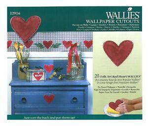 Wallies Wallpaper Cutouts 25x Folk Art Red Heart Wall Decal Furniture Decoupage