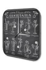 Wall Clock Bar Party Vintage Decoration  Cocktails Acrylglas