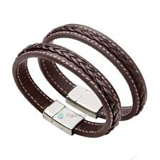 Classic Braided Surfer Genuine Leather Bracelet Wristband Men's Cuff Brown