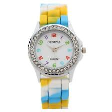 Kids Girls Boys Rainbow Rhinestone Watch Colorful Silicone Rubber Sports Watches