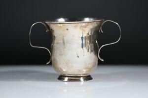 Antique Georgian Solid Silver Porringer / Loving Cup - London AD1