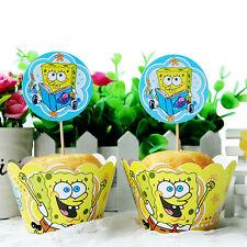 24pcs SpongeBob Squarepants Kids Birthday Party 12Wraps +12 Cupcake Cake Toppers