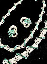 CROWN TRIFARI RHODIUM EMERALD RHINESTONE ART DECO NECKLACE BRACELET EARRINGS SET